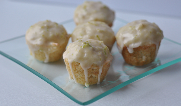 coconut muffins with lime glaze