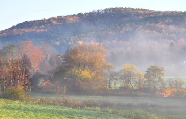 misty fall morning in upstate ny