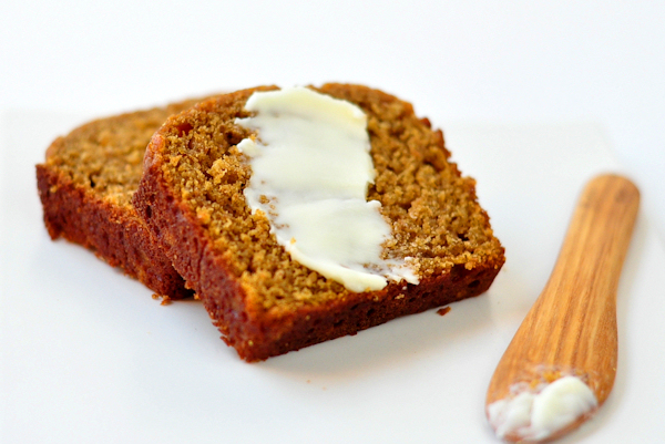 buttered slice of butternut squash quick bread