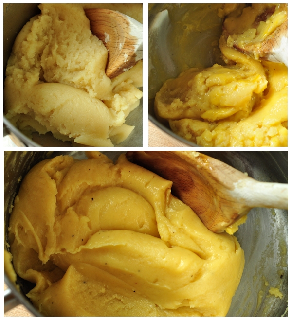 mixing the eggs in the gougere dough
