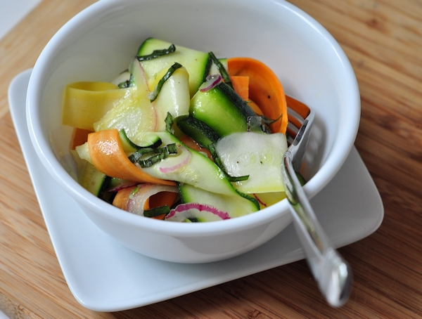 zucchini ribbon salad in a bowl
