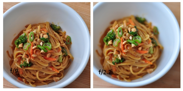 bowls of peanut noodles demonstrating depth of field